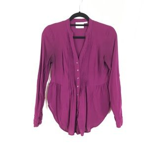 Anthropologie Maeve Jam Purple Button Down Blouse